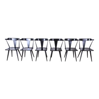 Paul McCobb Planner Group T-Back Black Lacquered Solid Maple Dining Chairs, Set of Six For Sale