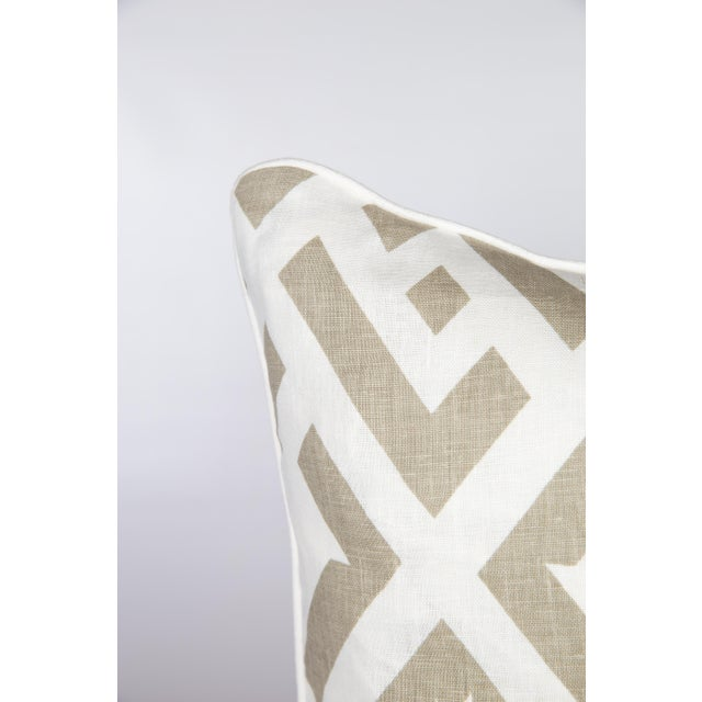 Pair of custom, high-end designer linen geometric pattern pillows in dune color way. Pattern on fronts and backs, solid...