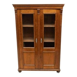Antique Refined European Oak & Pine Glazed Bookcase For Sale