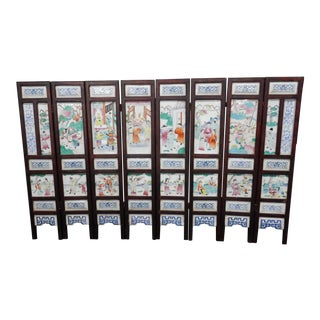 Antique Chinese Porcelain Screen 50 Inches For Sale