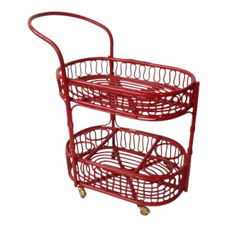 Red Rattan Tea Cart