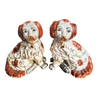 A Pair Stunning Rust Red Grey Staffordshire Dogs Pups Statue Figurines For Sale