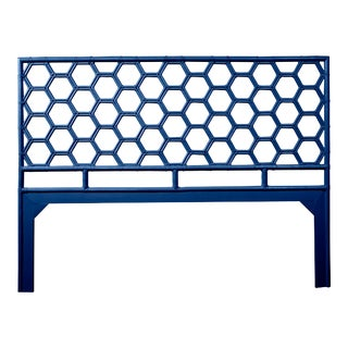 Honeycomb Headboard King - Navy Blue For Sale
