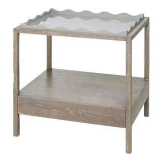 Belles Rives Nightstand in Pale Grey / Cerused Oak - Rita Konig for The Lacquer Company For Sale