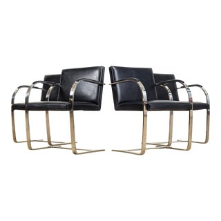 Mies Van Der Rohe Knoll Brno Flat Bar Black Leather & Chrome Chairs, Set of 4 For Sale