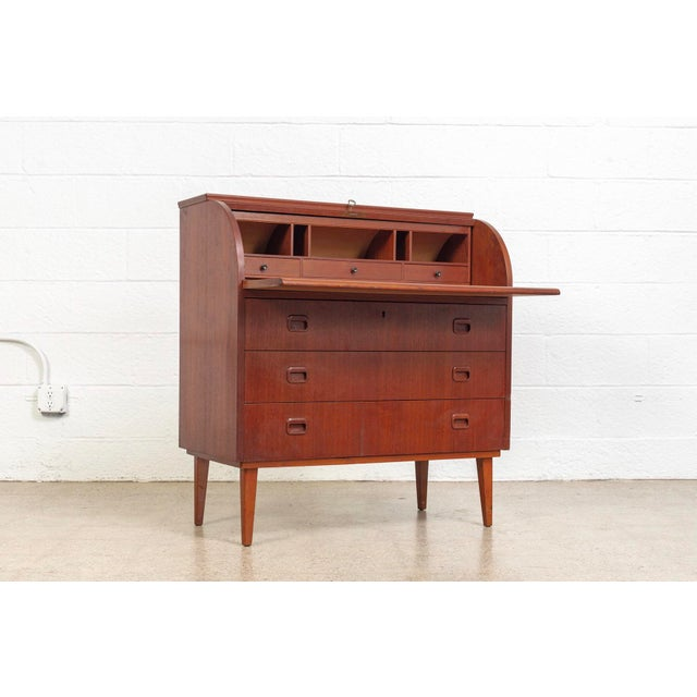 Mid Century Swedish Egon Ostergaard Rolltop Secretary Desk For Sale In Detroit - Image 6 of 11