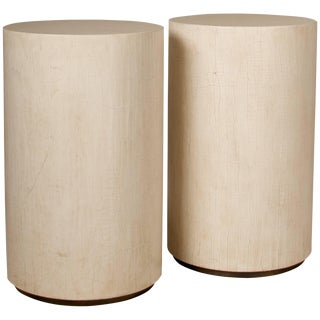 Pair of Contemporary Side Tables, in Crackle Lacquer With Brass Detail on Base For Sale