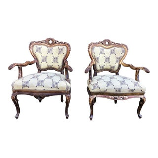 Antique Victorian Carved Walnut Berger Chairs- A Pair For Sale