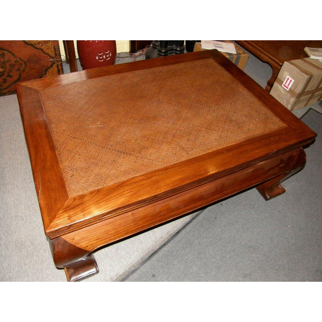Wood 19th Century Chinese Chow Leg Coffee Table with Woven Mat Top For Sale - Image 7 of 8
