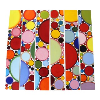 Contemporary Abstract 6 Panel Painting Canvas Signed Deborah Freidman 2015 For Sale