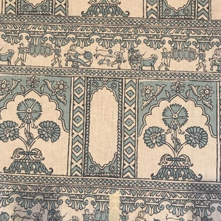 China Seas Sultan II Turquoise Linen Fabric - 5 Yards For Sale