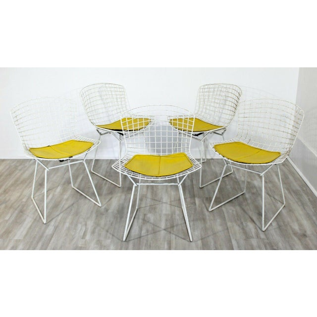 Knoll Contemporary Modern Harry Bertoia for Knoll Set 5 Side Dining Chairs 1980 Yellow For Sale - Image 4 of 11
