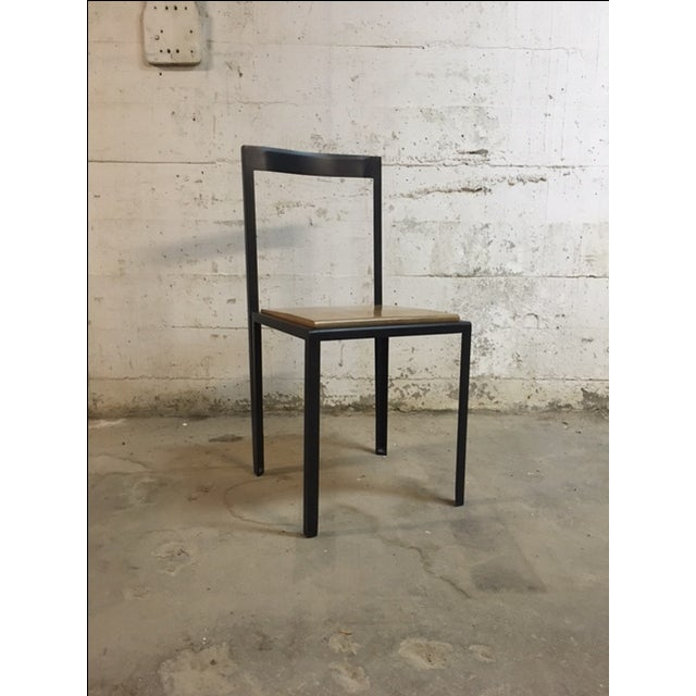 One-of-a-kind, multi-functioning chair/table designed by Henry MacNeill. Can be used as a side table and chair because of...