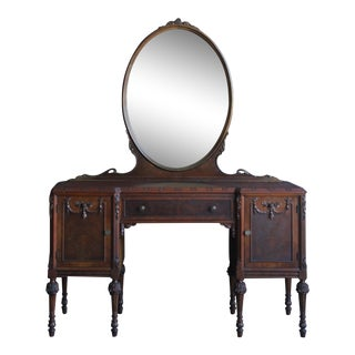 Antique French Style Vanity With Mirror For Sale