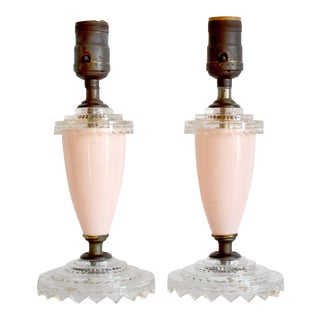 Vintage 1930s Pink Pressed Glass Boudoir Lamps - a Pair For Sale