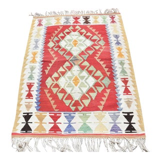 4.1 X 2.9 Ft Handmade Turkish Oushak Kilim Vintage Anatolian Antique Decorative Wool Kelim Traditional Tribal Kilim Geometric Design Multl Color Kilim For Sale