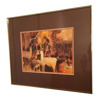 Framed Original Watercolor Painting, 1979 For Sale