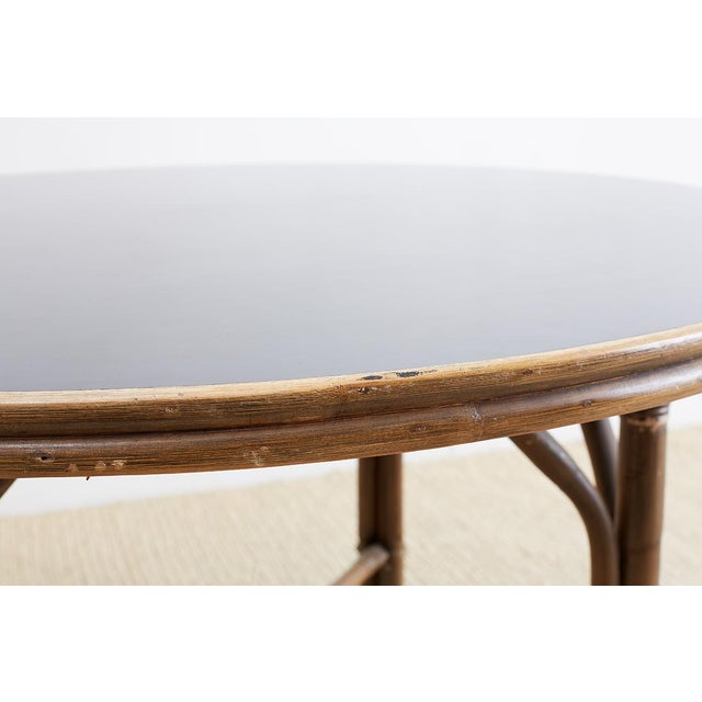 Mid 20th Century Ficks Reed Midcentury Rattan Dining Table For Sale - Image 5 of 13