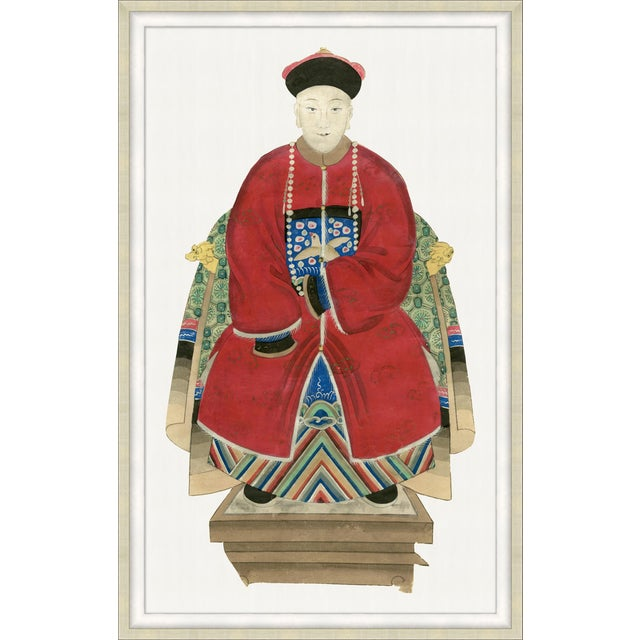Framed print of a Chinese Emperor. With great color and scale, this piece adds interest to any traditional space. We also...