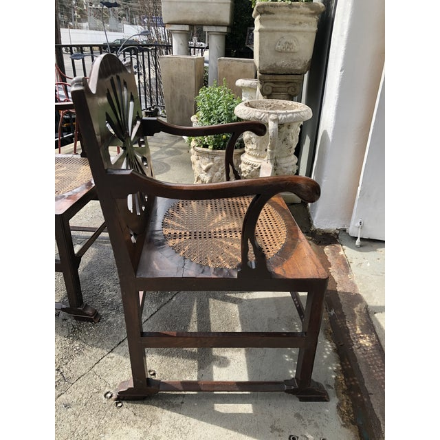 Brown Fine 18th Century English Mahogany Hall Chairs With Oval Cane Seats, a Pair For Sale - Image 8 of 13