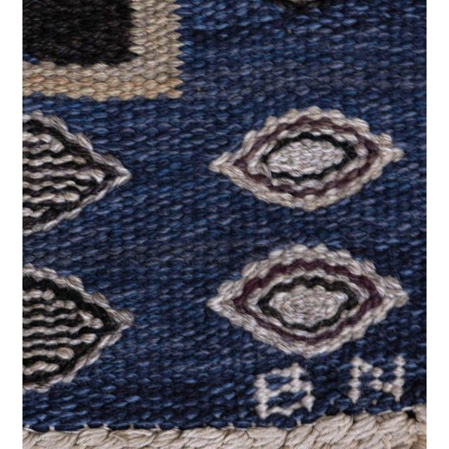 Mid-Century Modern Mid-Century Handwoven Signed Swedish Wool Rug For Sale - Image 3 of 8