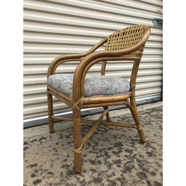 Boho Chic 1970s Vintage McGuire Rattan and Leather Dining Chairs- Set of 10 For Sale - Image 3 of 12