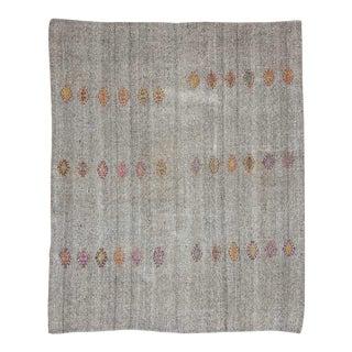Vintage Gray Embroidered Kilim Rug For Sale