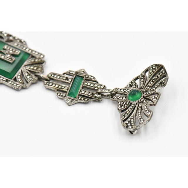 Art Deco French Art Deco Marcasite Initial Brooch For Sale - Image 3 of 8