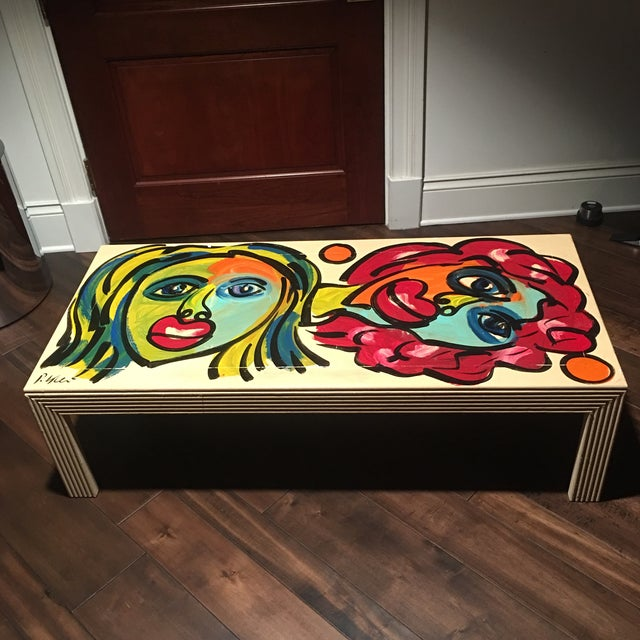 Exceptional and unique Coffee Table Hand Painted by German Listed Artist Peter Robert Keil ( Born 1942) it depicts two...