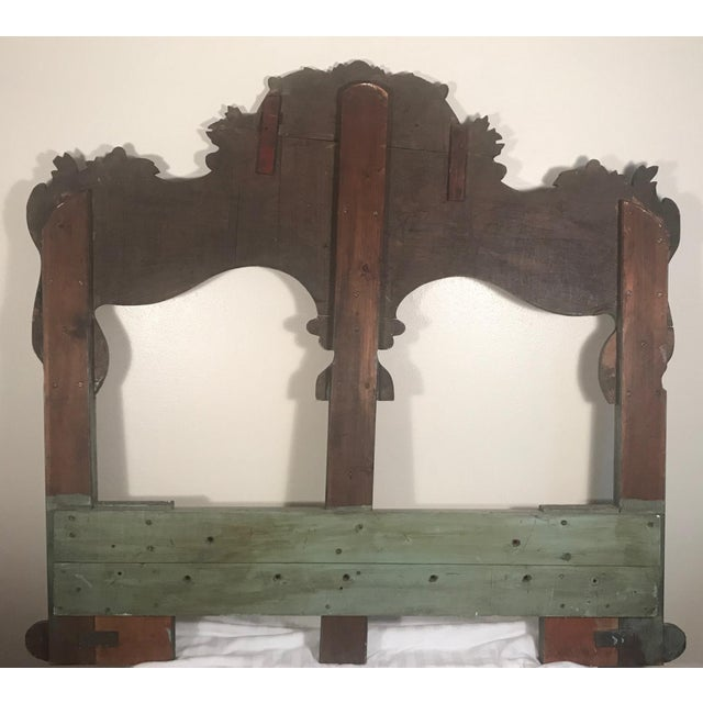 Celadon 19th Century New England Hand Painted Wooden Headboard For Sale - Image 8 of 12