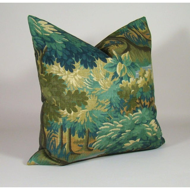 Lovely verdure forest print linen pillow cover in shades of gold, sage, olive, green and blue, backed in olive green...