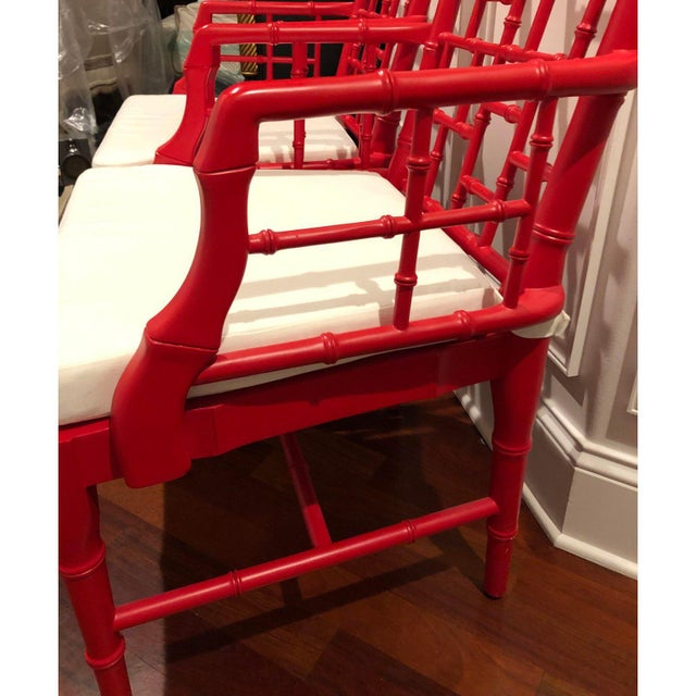 Red Modern Chinese Chippendale Arm Chairs- a Pair For Sale - Image 8 of 12