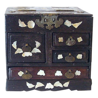 Antique Mother of Pearl Inlay Jewelry Box For Sale