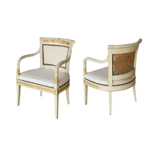 19th Century Neoclassical Arm Chairs - a Pair