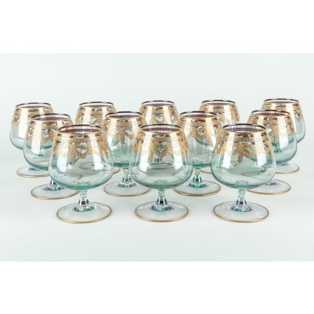 Contemporary Vintage Murano Crystal Brandy / Snifter Set 12 Pieces For Sale - Image 3 of 7