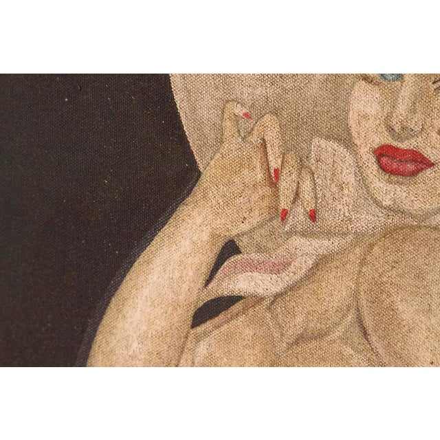 "Large Art Deco ""Trench Art"" Pin-Up Painting, Oil on Heavy Cloth, Signed For Sale - Image 9 of 11"