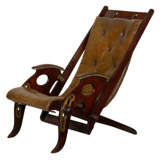 19th Century English Mahogany and Leather Reclining Metamorphic Campaign Chair For Sale