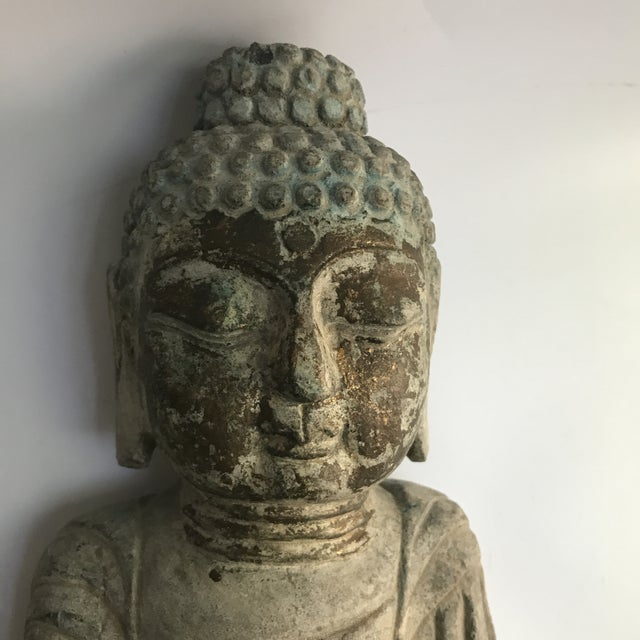 Antique Tibetan Carved Stone Temple Buddha For Sale - Image 12 of 13