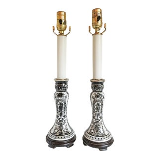 Chinoiserie Buffet Candlestick Lamps, a Pair
