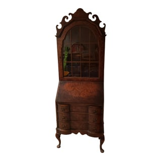 Queen Anne Block Front Secretary Desk Burl Wood Fronts For Sale