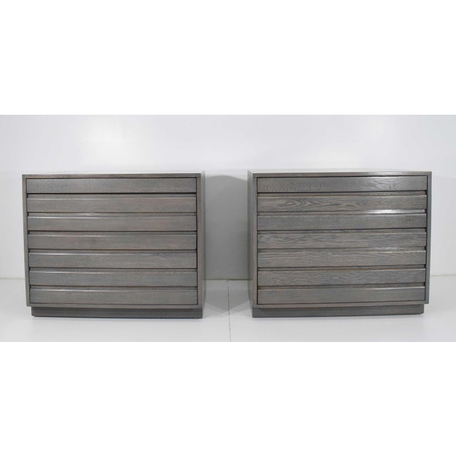 Contemporary 1970s Mid Century Grey Stained Chests - a Pair For Sale - Image 3 of 10