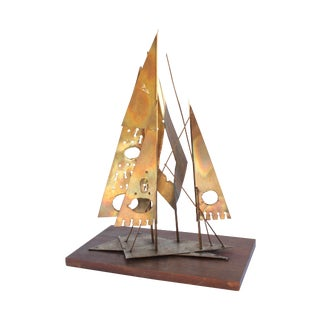 Brutalist Metal Sailboat Sculpture For Sale