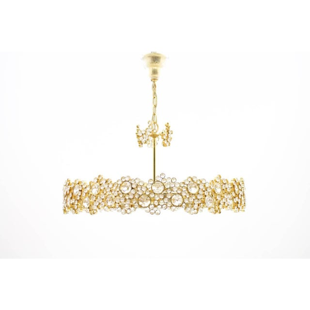 1960s Large Gilded Brass and Crystal Glass Chandelier by Palwa, Germany 1960s For Sale - Image 5 of 11
