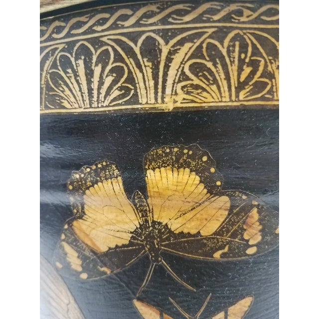 English Antique Bucket / Pail With Decoupage Butterflies - Found in Southern England For Sale - Image 10 of 11