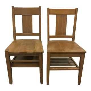 Vintage Mid-Century Solid Blonde Wood Chairs- A Pair For Sale