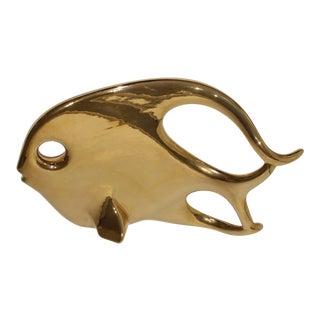 Jaru Mod Free Form Ceramic 22k Gold Biomorphic Fish For Sale