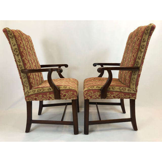 Carved Mahogany and Chenille Upholstered Armchairs - a Pair For Sale In Philadelphia - Image 6 of 13