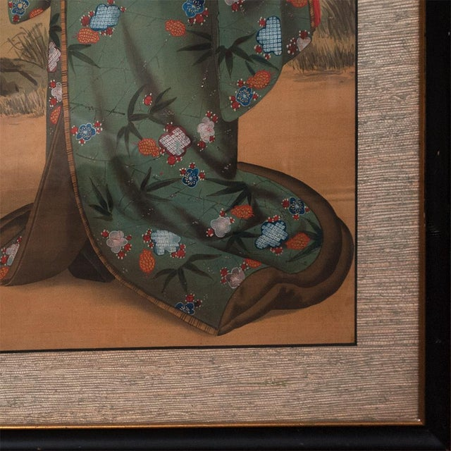 Late 19th Century 1850s Antique Japanese Silk Portrait of a Noble Lady Panel Painting For Sale - Image 5 of 11