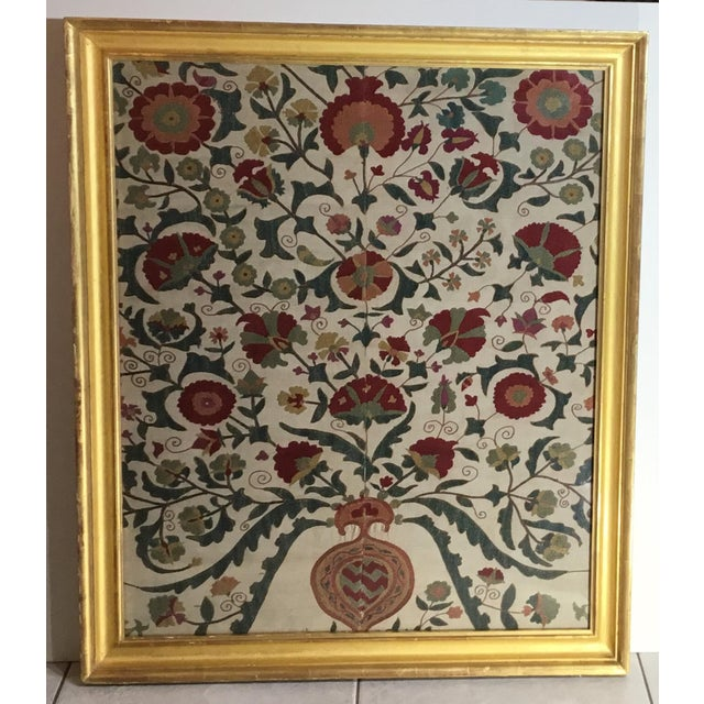 Hand Embroidery Silk Suzani Textile, Framed For Sale - Image 13 of 13