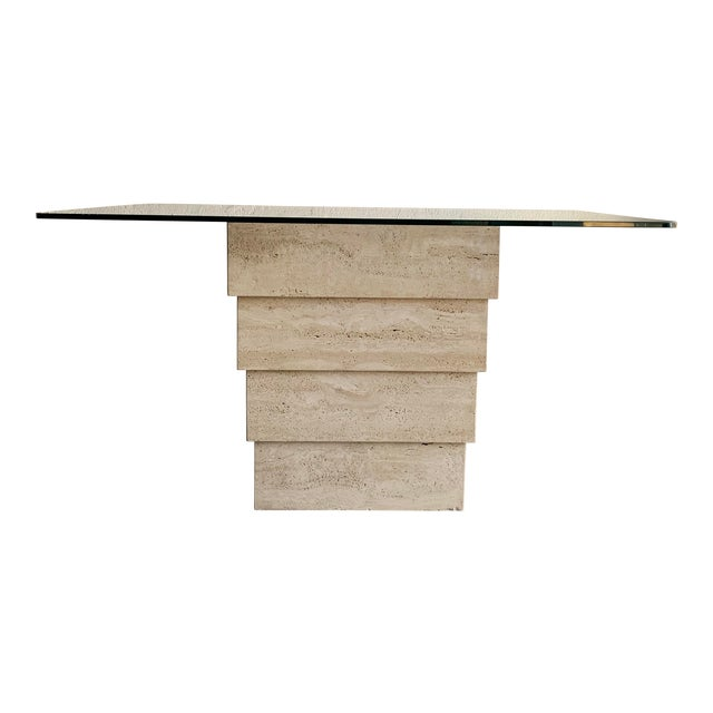 Post Modern Travertine Dining Table With Glass Top For Sale